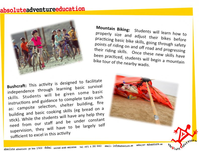 Absolute Adventure Sample Activities at Kalba Camp